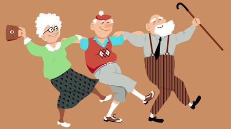 Illustration for Three happy seniors dancing sirtaki or Zorba dance, vector illustration, no transparencies - Royalty Free Image