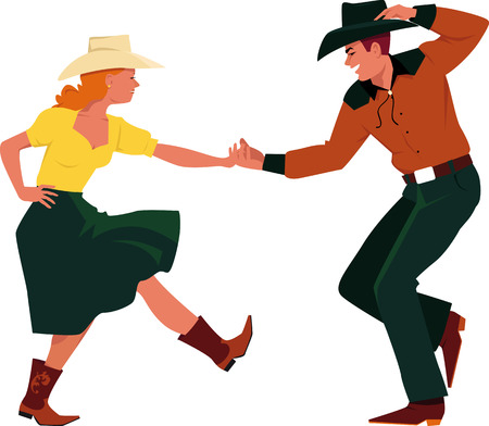 Illustration pour Couple dancing Country Western, front view, EPS 8 vector illustration, no transparencies - image libre de droit