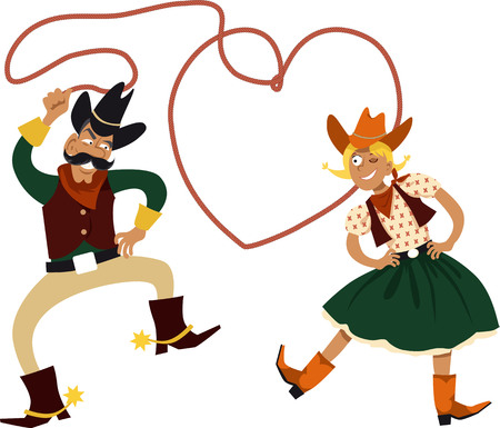 Illustration pour Funny cartoon cowboy and cowgirl dancing with a lasso in a shape of a heart, EPS 8 vector illustration - image libre de droit