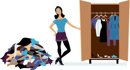 Illustration pour Woman creating a minimalist wardrobe, purging unnecessary clothes, EPS 8 vector illustration - image libre de droit