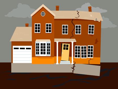 Illustration pour House falling apart because of a foundation failure, EPS 8 vector illustration - image libre de droit