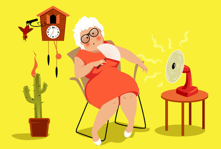 Illustration pour Mature woman sitting in her house in a very hot summer day, suffering a heat exhaustion, EPS 8 vector illustration, no transparencies - image libre de droit