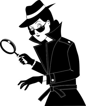 Ilustración de Female secret agent or private detective with a magnifying glass, EPS 8 vector silhouette no white objects, black only - Imagen libre de derechos