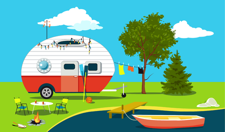 Illustration pour Cartoon fishing trip scene with a vintage camper, a boat, a fire pit, camping table and laundry line, EPS 8 vector illustration, no transparencies - image libre de droit