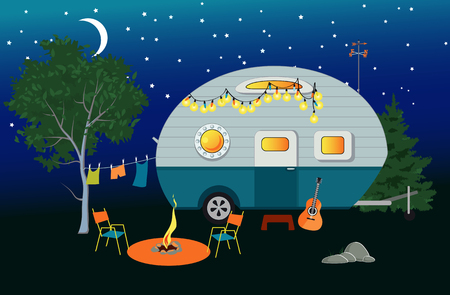 Illustration pour Cartoon travelling night scene with a vintage camper, a fire pit, camping table and laundry line, EPS 8 vector illustration, no transparencies - image libre de droit