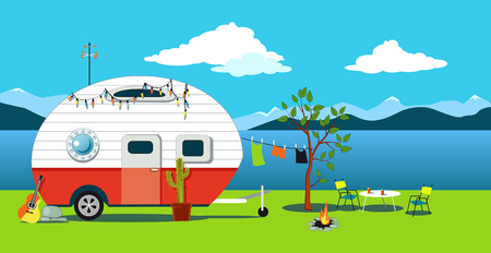 Illustration pour Cartoon travelling scene with a vintage camper, a fire pit, camping table and laundry line, EPS 8 vector illustration, no transparencies - image libre de droit