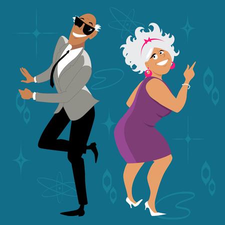 Ilustración de Mature couple dressed in 1960th fashion dancing the Twist, EPS 8 vector illustration - Imagen libre de derechos