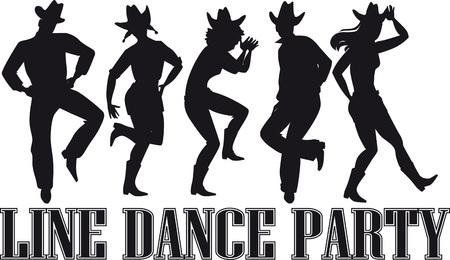 Ilustración de Country-western line dance party silhouette banner. - Imagen libre de derechos