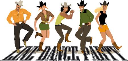 Illustration pour Group of people in western country clothes dancing line dance illustration. - image libre de droit