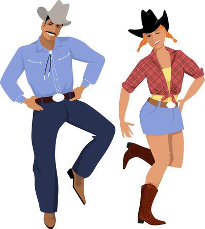 Illustration pour Couple dressed in traditional country western clothes dancing line dance - image libre de droit