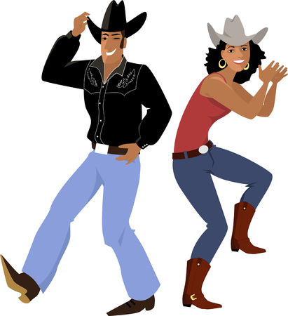 Illustration pour Couple dressed in traditional country western clothes dancing line dance illustration. - image libre de droit