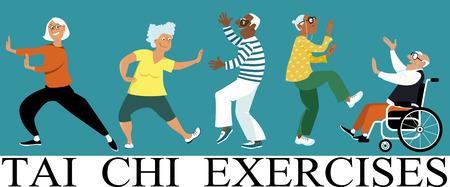 Ilustración de Diverse group of senior citizens doing tai chi exercise, EPS 8 vector illustration - Imagen libre de derechos