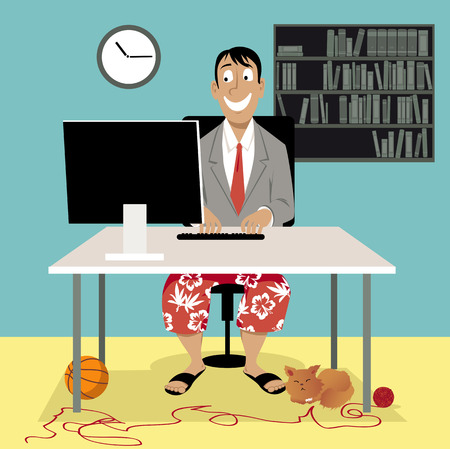 Illustration pour Man in a business suit coat and swim shorts sitting in front of a computer, having a video job interview or working from home, EPS 8 vector illustration - image libre de droit