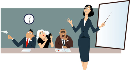 Ilustración de Businesswoman giving a presentation in front of a bored distracted colleagues. - Imagen libre de derechos