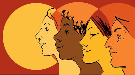 Illustration pour Female profiles of different ethnicity as a symbol for women empowerment movement. - image libre de droit