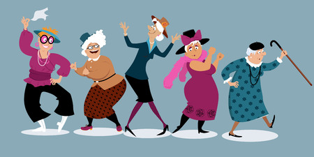 Illustration pour Group of active senior women dancing, EPS 8 vector illustration - image libre de droit