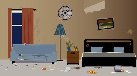 Ilustración de Dirty hotel room interior, EPS 8 vector illustration, no transparencies - Imagen libre de derechos