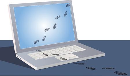 Ilustración de Digital footprints crossing a laptop screen and following outside. - Imagen libre de derechos