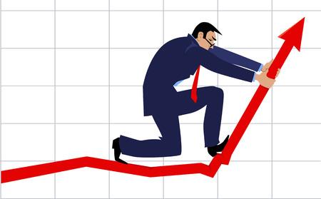Ilustración de Businessman bending a graph upwards as a metaphor for a growth hacking illustration - Imagen libre de derechos