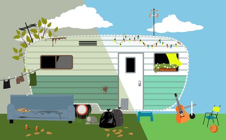 Illustration pour Camper trailer home before and after renovation, EPS 8 vector illustration - image libre de droit