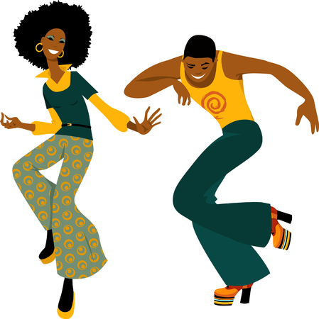 Illustration for Young couple dressed in 1970s fashion dancing disco, EPS 8 vector illustration - Royalty Free Image