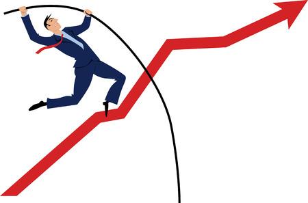 Ilustración de Businessman pole vaulting over a rising graph - Imagen libre de derechos