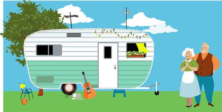 Illustration pour Senior couple standing in front of a camper trailer or motor home, EPS 8 vector illustration - image libre de droit