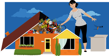 Ilustración de Woman decluttering, throwing away things from a house, overflown by stuff, EPS 8 vector illustration - Imagen libre de derechos