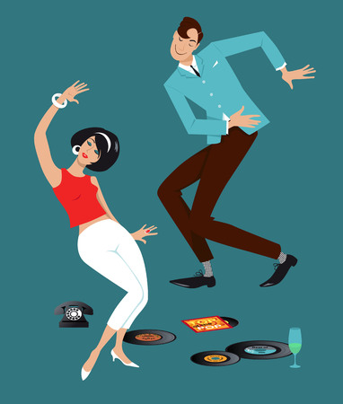 Illustration pour Mod couple dressed in early 1960s fashion dancing the Twist, vinyl records, vintage telephone and a glass on the floor - image libre de droit