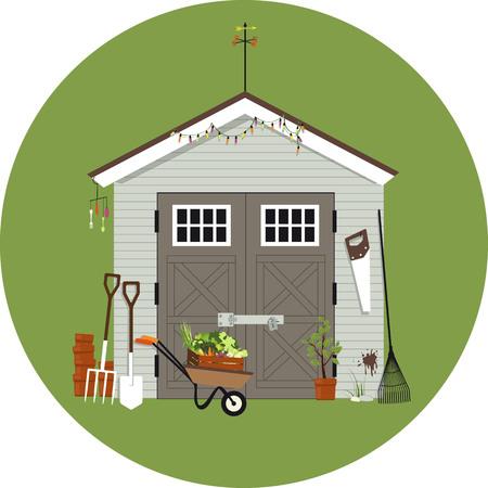 Illustration pour Garden shed with gardening tools around it, vector illustration, no transparencies. - image libre de droit