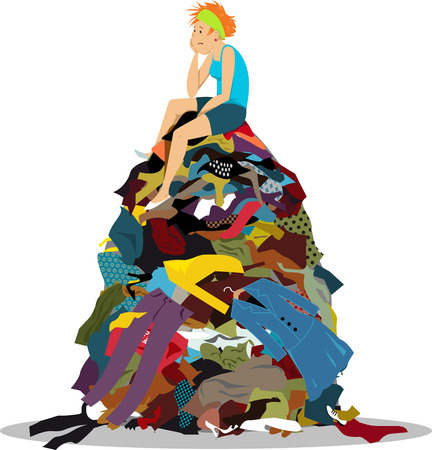 Illustration pour Sad woman sitting on a big pile of useless clothes having nothing to wear, EPS 8 vector illustration - image libre de droit