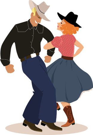 Illustration pour Couple in a traditional country western apparel dancing, EPS 8 vector illustration - image libre de droit