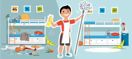 Ilustración de Little boy with a mop and cleaning tools in front of a children bedroom before and after cleaning, EPS vector illustration - Imagen libre de derechos
