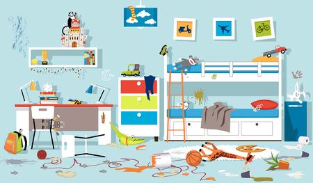 Ilustración de Interior of messy kids bedroom, EPS 8 vector illustration, no transparencies - Imagen libre de derechos