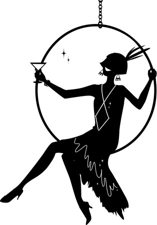 Illustration for Young woman dressed in 1920s fashion sitting in a hanging hoop and having a cocktail, EPS 8 vector silhouette, no white objects - Royalty Free Image