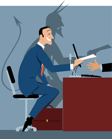 Illustration pour Prospective employee at the job interview with a shadow of a devil as a metaphor for a bad hire, EPS 8 vector illustration - image libre de droit
