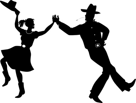 Illustration pour A couple dressed in traditional country western costumes dancing, EPS 8 vector silhouette illustration - image libre de droit