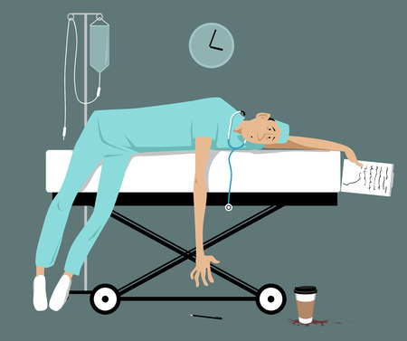 Illustrazione per Exhausted overworked doctor or intern lying on a gurney, EPS 8 vector illustration - Immagini Royalty Free