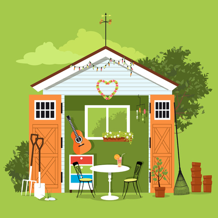 Ilustración de She shed in a garden with a set of furniture, gardening tools and art and craft station, EPS 8 vector illustration - Imagen libre de derechos
