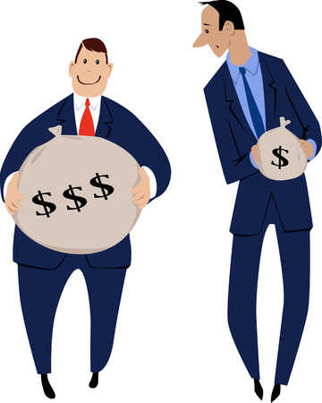 Ilustración de Two businessmen receiving an unequal compensation for the job - Imagen libre de derechos