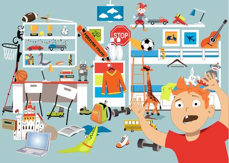 Ilustración de Boy panicking  in a stuffed room with too many toys, EPS 8 vector illustration - Imagen libre de derechos