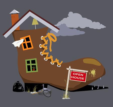 Ilustración de Old dilapidated shoe house with open house sign near it, EPS 8 vector illustration - Imagen libre de derechos
