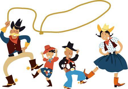 Illustration pour Family dancing a country western dance with lasso,  vector illustration - image libre de droit