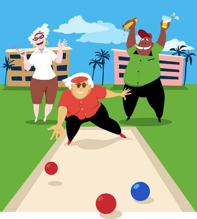Ilustración de Group of active seniors playing bocce ball, vector illustration - Imagen libre de derechos