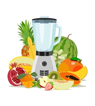 Illustration pour Cooking blender and fruit. Healthy eating. Fruits. Smoothies. Vector illustration - image libre de droit