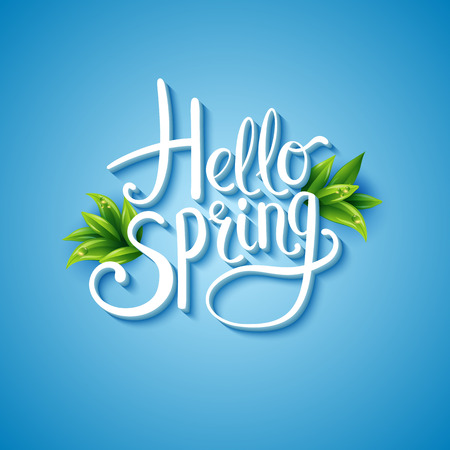 Illustration pour Fresh blue Hello Spring background with flowing white text and green leaves over a glowing graduated blue square background , vector illustration - image libre de droit