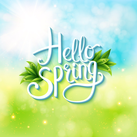 Illustration pour Welcoming the springtime - Hello Spring - with an abstract textured background of a sunny green spring meadow with flowing white text and green leaves, vector illustration - image libre de droit