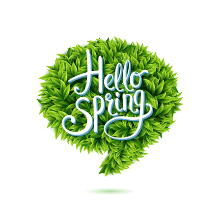 Illustration pour Hello Spring greeting in a speech bubble of fresh new young green leaves isolated on white for use as a design element for eco and bio concepts - image libre de droit