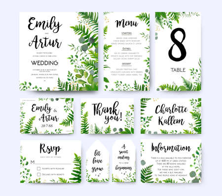 Photo pour Wedding invite, invitation menu rsvp thank you card vector floral design green fern frond, Eucalyptus branch green leaves foliage herbs greenery berry frame border. Watercolor template set - image libre de droit