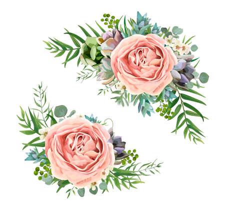 Illustration for A Vector floral bouquet design: garden pink peach lavender Rose wax flower, Eucalyptus branch, green fern palm leaves, succulent berry. Wedding vector invite illustration Watercolor designer element set - Royalty Free Image